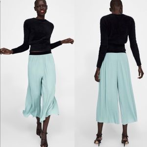 Zara Basic Pleated Culottes, Velvet waistband